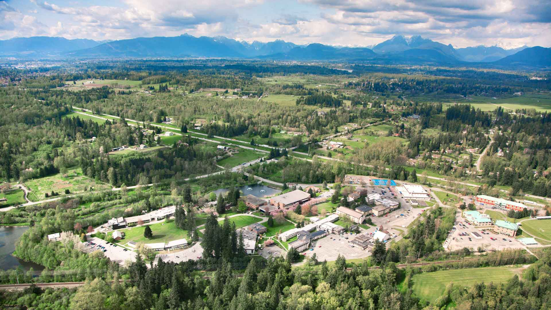Aerial view of Trinity Western University campus in Langley BC