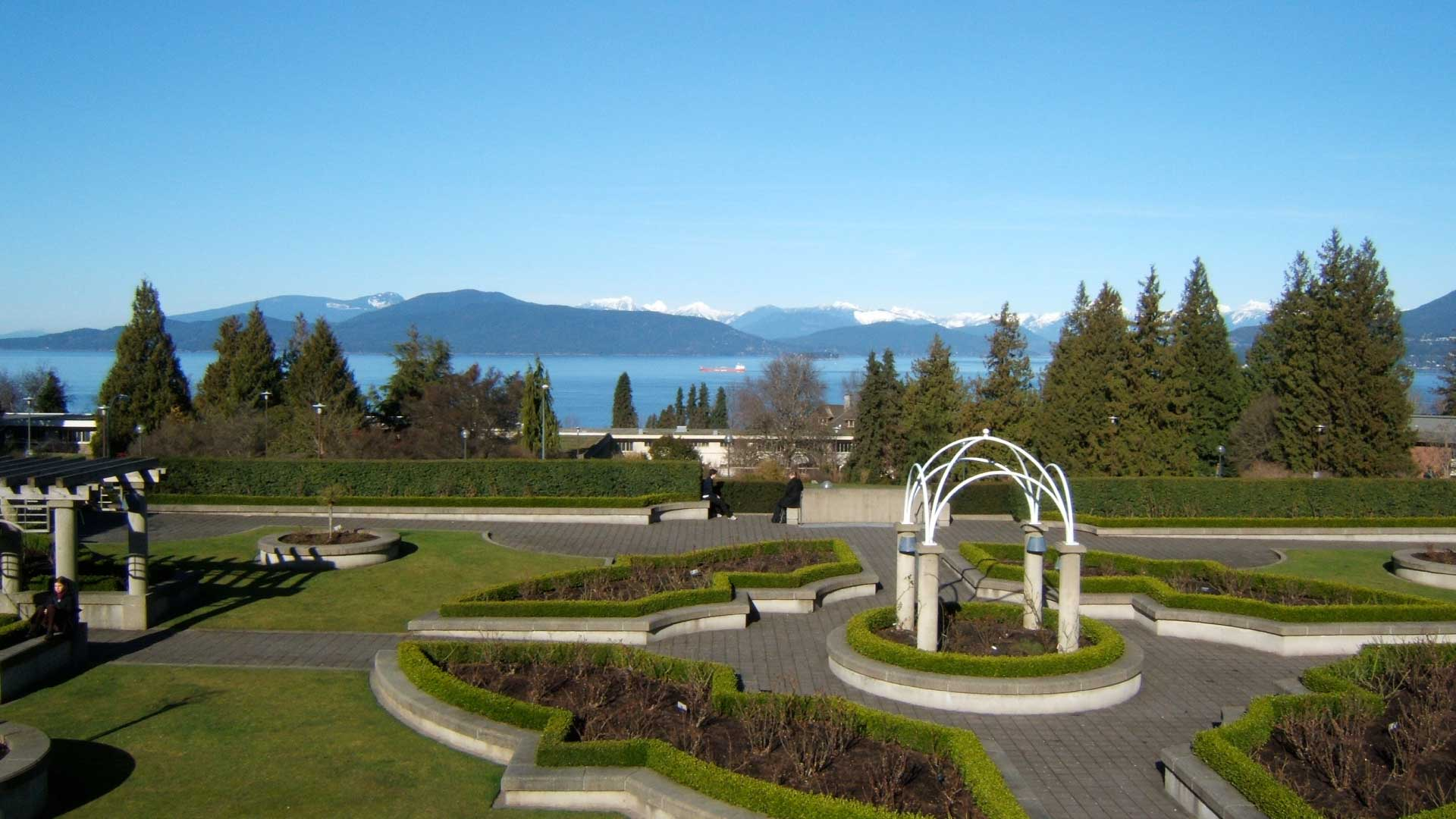 View from UBC's rose garden overlooking the ocean and mountains