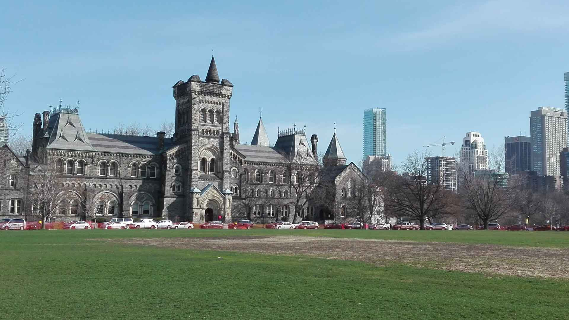 University College at the University of Toronto with the Toronto skyline to the right