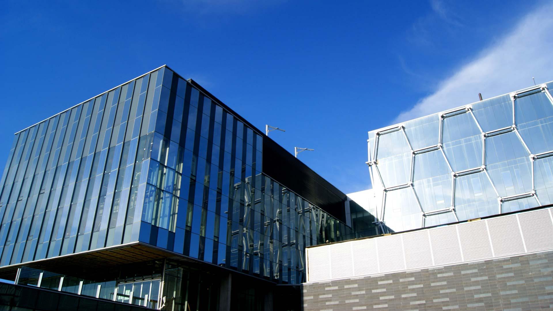 Nano Building under blue skies at the University of Waterloo