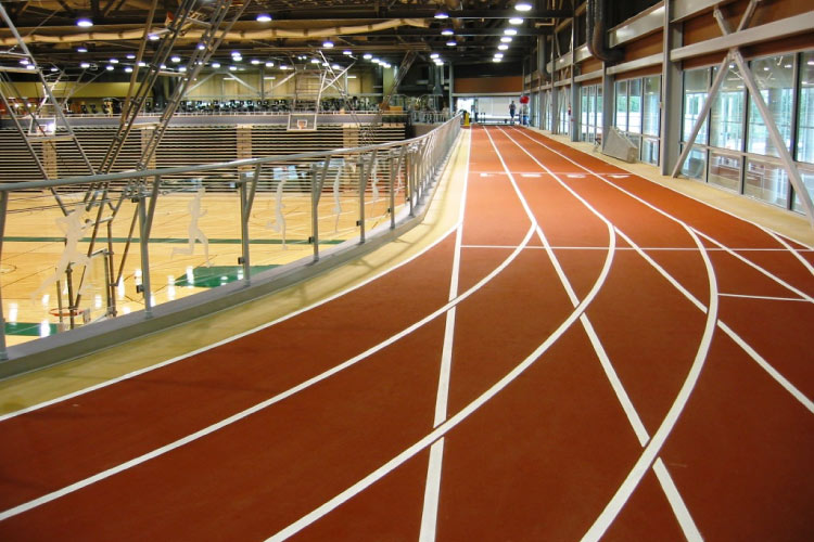 Indoor track in the Centre for Kinesiology, Health and Sport (photo courtesy of the University of Regina)